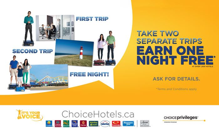 Take Two Separate Trips and Earn One Free Night Choice Hotel Promotion!