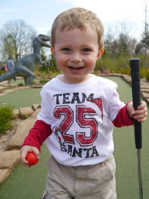 Kaidyn at Dinosaur Adventure Golf