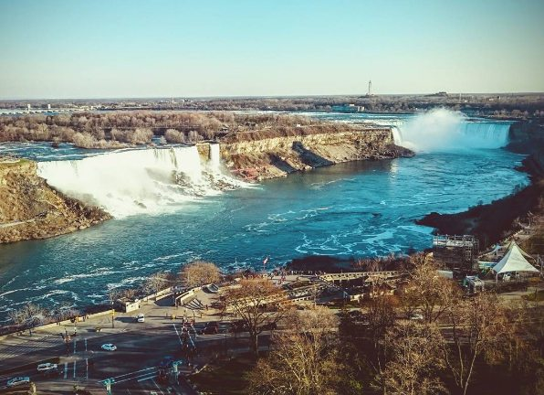 surise and sunset on the Niagara Falls