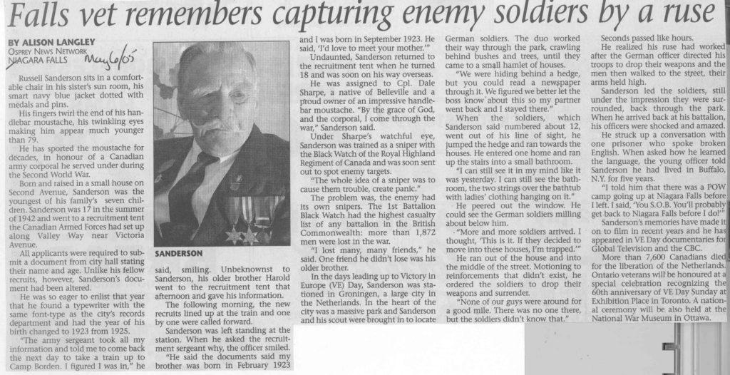 Niagara Falls War Veteran