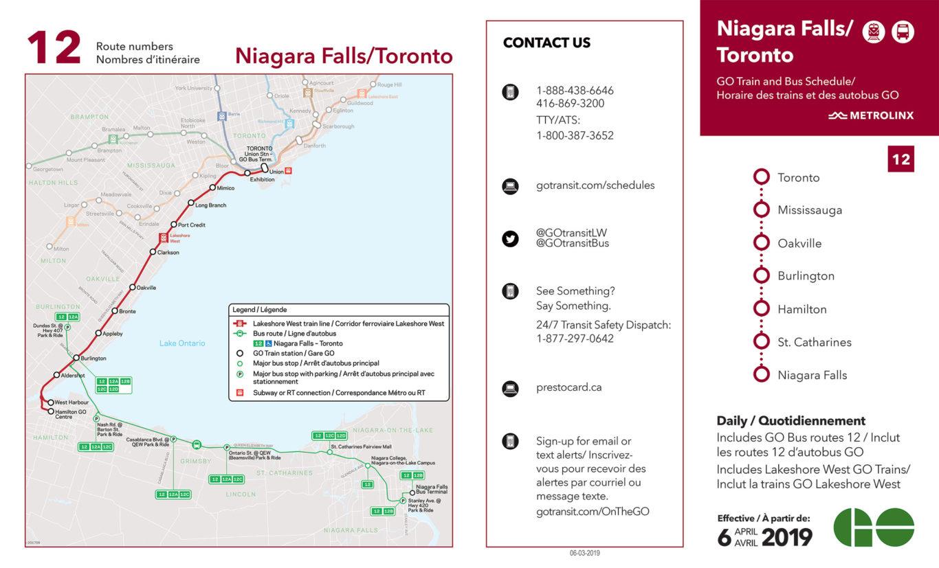 Go Transit Schedule Go Train To Niagara Falls Clifton